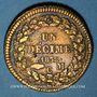 Monnaies Monaco. Honoré V (1819-1841). 1 décime 1838MC. Cuivre jaune