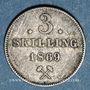Monnaies Norvège. Charles XV Adolphe (1859-1872). 3 skilling 1869