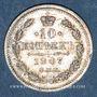 Monnaies Russie. Nicolas II (1894-1917). 10 kopecks 1907EB. Saint Petersbourg
