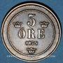 Monnaies Suède. Oscar II (1872-1907). 5 öre 1875