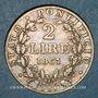 Monnaies Vatican. Pie IX (1846-1878). 2 lires 1867R, an XXII. Rome