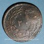 Monnaies Balkans. Ottomans. Ile de Yunda (proche de Lesbos). Bronze, 20 Para 1255H/ An 21, contremarqué, daté