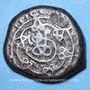 Monnaies Géorgie. Bagratides. Thamar, reine (1184-1213). Bronze irrégulier  (contremarqué)