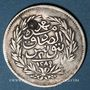 Monnaies Maghreb. Ottomans. Abdul 'Aziz (1277-1293H), avec le Bey Muhammad as-Sadiq. 2 piastres 1289H (contr