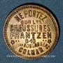 Monnaies Colmar (68). Chaussures Frantzen. Carton recouvert de deux plaques de laiton. 21,99 mm.