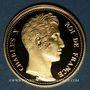 Monnaies 100 francs 1824 Essai de Charles X (1824-1830). Médaille or 20 mm. Réplique B.E.