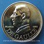 Monnaies Charles de Gaulle (1890-1970). Médaille or 1981. 30 mm. R/: drapeaux autour du globe terrestre