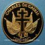 Monnaies Charles de Gaulle (1890-1970). Médaille or. 28 mm. Le discours de Brazzaville, 30 janvier 1944