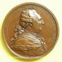Monnaies Louis XVI. La mer domptée à Cherbourg 1786. Médaille cuivre 64 mm signée Duvivier