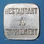 Monnaies Allevard (38). Coopérative - Forges d'Allevard. Restaurant A supplément. Zinc nickelé