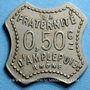 Monnaies Amplepuis (69). La Fraternité - Société Coopérative. 50 centimes