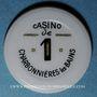 Monnaies Charbonnières-les-Bains (69). Casino. 1 franc plastique laminé blan avec inscription noir et or