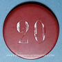 Monnaies La Bourboule (63). Casino Municipal. 20 francs. plastique laminé rouge, gravé et peint en blanc