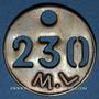 Monnaies Landres (54). Mines de Landres M. L., Jeton de pointage, n° 230