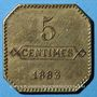 Monnaies Longwy (54). Aciéries de Longwy - Hôtel Economat. 5 centimes 1883