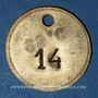 Monnaies Lyon (69). Société des Travailleurs Unis. 25 centimes. Percé et 14 en contremarque au revers