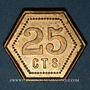 Monnaies Strasbourg (67). Fr. Mutschler (restaurant Grande Taverne Vignette). 25 centimes