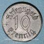 Monnaies Strasbourg (67). Ville. 10 pfennig 1918. Fer. Défaut de découpe du flan