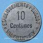 Monnaies Valentigney (25). Etablissements Peugeot. 10 centimes