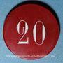 Monnaies Vichy (03). Casino. 20 francs. Plastique translucide rouge, gravé et peint en blanc