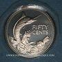 Monnaies Bahamas. 50 cents 1974. Argent