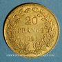 Monnaies Belgique. Léopold I (1831-1865). 20 francs 1865. L. WIENER. (PTL 900‰. 6,45 g)