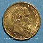 Monnaies Belgique. Léopold II (1865-1909). 20 francs 1882. (PTL 900/1000. 6,45 g)
