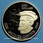 Monnaies Canada. Elisabeth II (1952- ). 100 dollars 1984. Jacques Cartier. (PTL 917/1000. 16,96 g)