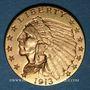 Monnaies Etats Unis. 2 1/2 dollars 1913. Tête d'indien. (PTL 900/1000. 4,18 g)