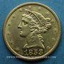 Monnaies Etats Unis. 5 dollars 1853. (PTL 900/1000. 8,36 g)