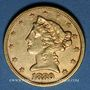 Monnaies Etats Unis. 5 dollars 1880. (PTL 900/1000. 8,36 g)