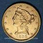 Monnaies Etats Unis. 5 dollars 1892. (PTL 900/1000. 8,36 g)