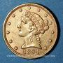 Monnaies Etats Unis. 5 dollars 1894. (PTL 900‰. 8,36 g)