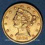 Monnaies Etats Unis. 5 dollars 1904. (PTL 900/1000. 8,36 g)