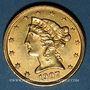 Monnaies Etats Unis. 5 dollars 1907. (PTL 900/1000. 8,36 g)