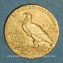 Monnaies Etats Unis. 5 dollars 1909 D. Denver. Tête d'indien. (PTL 900‰. 8,36 g)