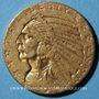 Monnaies Etats Unis. 5 dollars 1910. Tête d'indien. (PTL 900‰. 8,36 g)