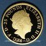 Monnaies Grande Bretagne. Elisabeth II (1952- ). 25 livres 2017. 999,9 /1000. 7,80 g (= 1/4 once)