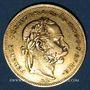 Monnaies Hongrie. François Joseph I (1848-1916). 20 francs / 8 florins 1878 KB. (PTL 900‰. 6,45 g)
