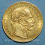 Monnaies Hongrie. François Joseph I (1848-1916). 20 francs / 8 florins 1880KB. (PTL 900/1000. 6,45 g)