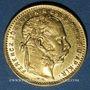 Monnaies Hongrie. François Joseph I (1848-1916). 20 francs / 8 florins 1882 KB. (PTL 900‰. 6,45 g)