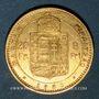 Monnaies Hongrie. François Joseph I (1848-1916). 20 francs / 8 florins 1885 KB. (PTL 900‰. 6,45 g)