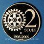 Monnaies Saint Marin. 2 scudi 2005. 100e anniversaire Rotary International. (PTL 900‰. 6,45 g)