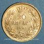Monnaies Serbie. Milan Obrenovich IV, roi (1882-1889). 20 dinars 1882. (PTL 900‰. 6,45 g)