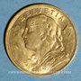 Monnaies Suisse. 20 francs Vrenelli 1922B. (PTL 900‰. 6,45 g)
