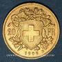 Monnaies Suisse. Confédération. 20 francs Vreneli 1909 B. (PTL 900‰. 6,45 g)