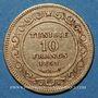 Monnaies Tunisie. Ali, bey (1299-1320H= 1882-1902). 10 francs 1891 A. (PTL 900‰. 3,22 g)