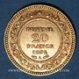 Monnaies Tunisie. Ali III, bey (1299-1320H = 1882-1902). 20 francs 1892 A. (PTL 900‰. 6,45 g)