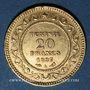 Monnaies Tunisie. Ali III, bey (1299-1320H = 1882-1902). 20 francs 1897 A. Torche. (PTL 900‰. 6,45 g)
