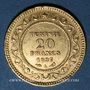 Monnaies Tunisie. Ali III, bey (1299-1320H = 1882-1902). 20 francs 1897A. Torche. 900 /1000. 6,45 gr